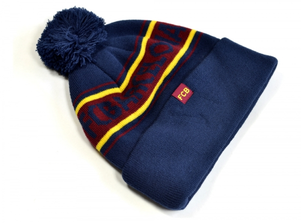73430f1bd71 FC BARCELONA TEXT CUFF KNITTED BOBBLE HAT – MIBANG UK Limited ...